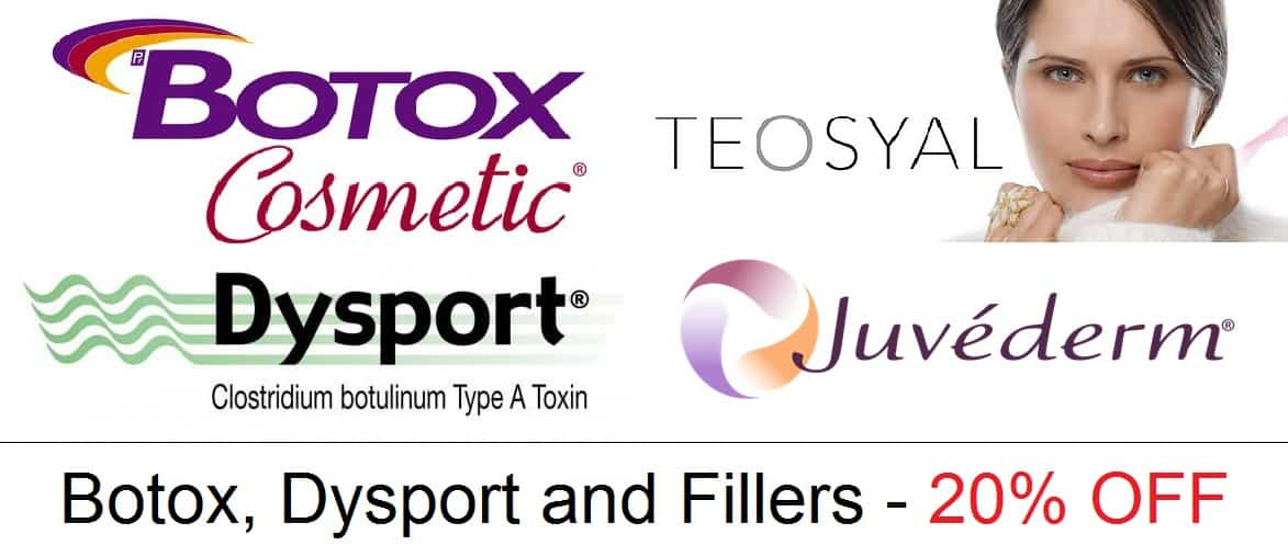 Botox, Dysport and Fillers all 20 percent off